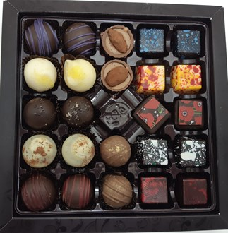 Chocolate & Truffle Mixed Selection: Box of  24, with red ribbon